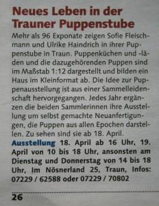 Ankündigung in 'Was ist los?', dem Freizeitmagazin der Oberösterreichischen nachrichten